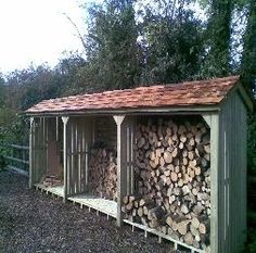 Add tio front of wood storage to get period look. pitched roof log storage along fence line Outdoor Firewood Rack, Firewood Shed, Firewood Storage, Shed Storage, Log Shed, Log Store, Outdoor Projects, Farm Life, Outdoor Gardens