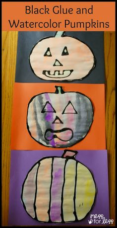 Black Glue and Watercolor Pumpkins - Mix black paint with white glue to make these fun pumpkins.