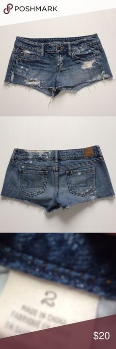 American Eagle Distressed Frayed Denim Jean Shorts Great condition!  No flaws. Just the perfect amount of Distressed and fraying. Size 2. No trades. American Eagle Outfitters Shorts Jean Shorts