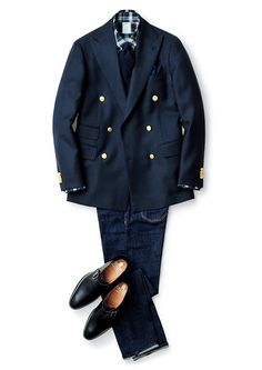 Beams - F/W source More menswear & suits! Caban Bleu Marine, Mature Mens Fashion, Blazer Outfits Men, Madrid, Preppy Men, Gentleman Style, Classic Outfits, Facon, Jacket Style