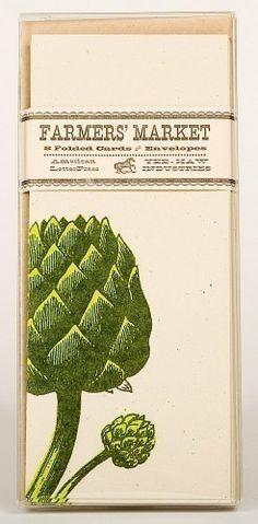 ARTICHOKE GREETING CARDS Farmers Market Letterpress Card Pack of 8