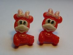Red Baby Mine Mouse Stud Earrings     716 by ritascraftsandmore on Etsy