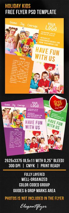 Free Kids Party Flyer PSD Template Free Flyers Pinterest - holiday flyer template example 2