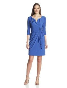 Amazon.com  Adrianna Papell Women s 3 4 Sleeve Flower Side Gather Dress 5ea602f729