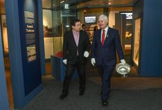 Broadcaster Marty Morrissey and GAA President Aogán Ó'Fearghaíl stroll through the GAA Museum as they launch the programme for the GAA Museum Summer School This year's theme is 'Sport and Politics'. Summer School 2017, Croke Park, National Games, Sports And Politics, Presidents, Product Launch, Museum, Football, Events