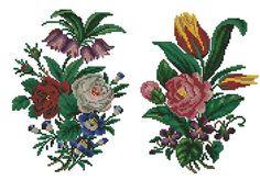 2 flowers cross stitch vintage digital pattern for por Smilylana