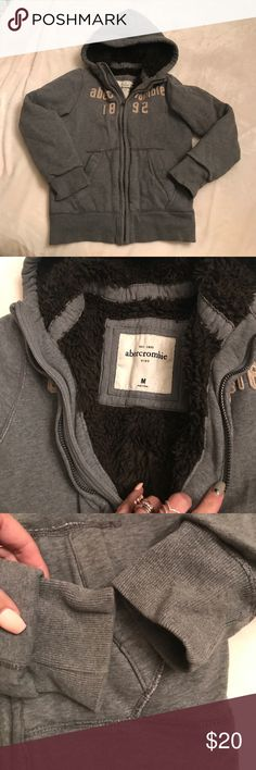 🍁 Abercrombie kids M hoodie with zipper 🍁 Like new Abercrombie boys size medium gray with brown faux  fur lining. I don't see any spots or stains and zipper works perfectly fine. Please check all pictures if you have any questions please ask before you purchase, thank you for visiting my closet! 🍁 abercrombie kids Jackets & Coats