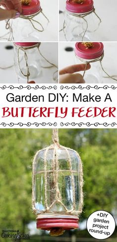 garden craft Here's how to make a DIY butterfly feeder for your garden that makes a wonderful addition to any garden + more DIY garden projects! Butterfly Food, Butterfly Feeder, Butterfly House, Diy Bird Feeder, Humming Bird Feeders, Hummingbird Feeders Diy, Diy Garden Projects, Diy Garden Decor, Garden Ideas