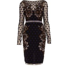 Temperley London Josette Dress ($480) ❤ liked on Polyvore featuring dresses, vestidos, black mix, metallic dress, embellished cocktail dress, embroidered dress, metallic cocktail dress and floral dresses