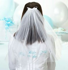 """Lillian Rose Bride To Be Bachelorette/Bridal Party Veil. This lovely white veil is long and is embroidered with scrolls and the words """"Bride to Be"""" in blue. At the top is a white bow with metal hair clip. Wedding Veils, Wedding Dresses, Bridal Veils, Wedding Hats, Wedding Favors Unlimited, Lillian Rose, Wedding Shoppe, Jelsa, Marie"""