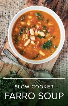 Beside being easy to make for lunch or dinner, this slow cooker farro soup has lots of added health benefits as it's said to help you not only stay full longer, but also loose weight.