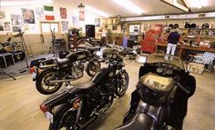 Motorcycle workshop  Good a of Space to work with