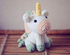 Items similar to Amigurumi Unicorn Crochet on Etsy Cute Crochet, Crochet Crafts, Yarn Crafts, Crochet Baby, Crochet Projects, Amigurumi Patterns, Amigurumi Doll, Crochet Patterns, Crochet Mermaid