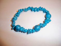 Bracelet Jewelry Genuine Turquoise Stone Chip Bead by NalisNotions, $20.00