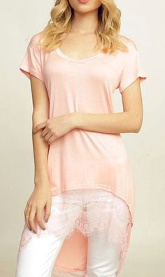 Lace High Low Shirt