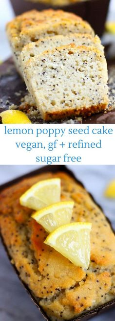 This GlutenFree Vegan Lemon Poppy Seed Cake is moist and fluffy sweet and tangy and super easy to make Refined sugar free Perfect for brunch dessert or a snack Healthy Vegan Snacks, Vegan Sweets, Vegan Foods, Vegan Recipes, Cooking Recipes, Healthy Brunch, Diet Recipes, Brunch Food, Snacks Recipes
