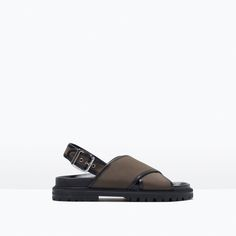 ZARA - SHOES & BAGS - CROSS STRAP FABRIC FOOTBED SANDALS