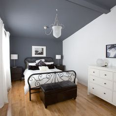 Accent Wall And Ceiling Same Color Love Sloped Ceiling Bedroom Slanted Ceiling Bedroom Accent Wall Bedroom