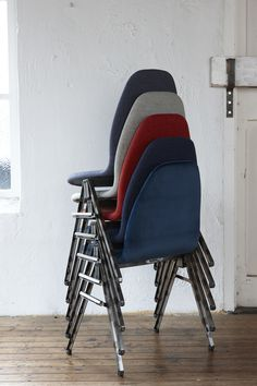 Stackable chair, upholstered in velvet. Steel legs, connectable and perfect for projects or hotels, conference-rooms.