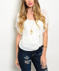 Look at this #zulilyfind! Forever Lily White Flutter-Sleeve Top by Forever Lily #zulilyfinds
