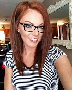 Red mid length hairstyle that work with eye wear