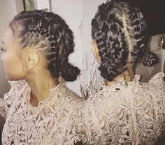 messy but not so messy braids and buns by my boo @_candacejackson