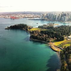 Aerial view of #Vancouver taken by @cmpee#explorebc - Stanley Park, Vancouver Harbour in background