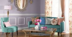 These beautiful berry hues create the perfect #livingroom to entertain family and friends. Ft. Plum Frost 660F-4 and Pale Bud W-D-620. #BEHRPAINT #color