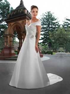 A-line Off-the-shoulder Satin Court Train Beading Wedding Dresses at Millybridal.com