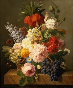 Jan Frans Van Dael 'Still Life with Flowers and Fruit' 1827 oil painting by Plum leaves