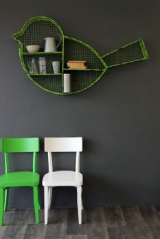 What a wonderful quirky item from Rocket St George - Giant Green Bird Shelf graces room
