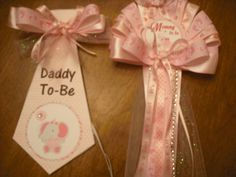 Pink Elephant Mommy Baby shower corsage and Daddy to be Tie by TheFlowerExperts on Etsy