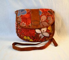 Guatemala  Large Embroidered Purse with Flap  Rust by PIDcrafts