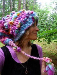 handknit slouchy hat art yarn wool silk fantasy von beautifulplace