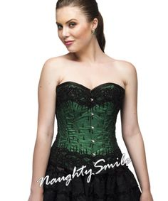 Green Satin Black Net Beat Sequined Overbust Corset NS-1306