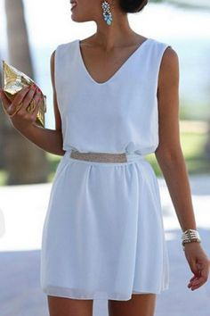 Fashionable V-Neck Sleeveless A-Line Dress For WomenChiffon Dresses | RoseGal.com