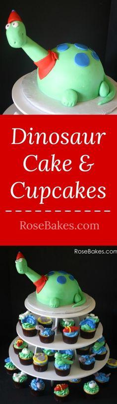 Dinosaur Cake & Cupcakes at RoseBakes.com