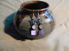 Purple mother of pearl and butterfly earrings by MarquisCreations, $12.25