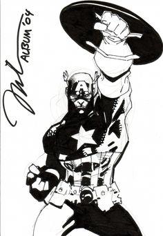 Captain America - Jim Lee, in the December 2006: Golden Age Heroes/Heroines Comic Art Sketchbook