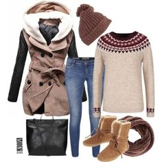 hnedy kabat vzorovany sveter kozuskove topanky toms