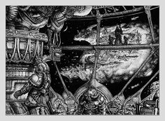 Tony HoughBattlefleet Gothic  Imperial Bridge. Ship approaching space station on an asteroid. The ships seen through the window were the standard design for Imperial battleships in this early version of BFG Ink on paper from 1990.