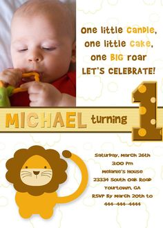 Love this funky lion invite nice font nice colours leos 1st little lion birthday invitation you print by pinkskyprintables 1200 filmwisefo