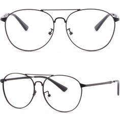 Men Women Double Bridge Metal Frames Prescription Glasses Retro Sunglasses Black #Unbranded