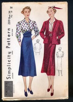 1930 Simplicity Pattern - Ladies' Dress With Jacket