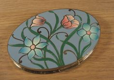 Vintage Dorset Rex Teal Green Blue Flower Enamel Makeup Powder Compact Mirror | eBay