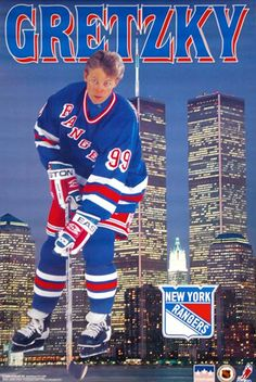 "Wayne Gretzky ""Skyline Manhattan"" New York Rangers Poster - Starline Inc. Hockey Girls, Hockey Mom, Ice Hockey, Hockey Sport, Hockey Stuff, Field Hockey, Hockey Pictures, Michael Jordan Basketball, Rangers Hockey"