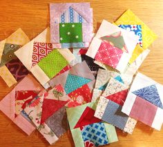 Sew Block Quilt QM Bitty Blocks 2015 of the Month - January thru November House Quilt Patterns, House Quilt Block, Scrap Quilt Patterns, House Quilts, Pattern Blocks, Quilt Blocks, Small Quilts, Mini Quilts, Miniature Quilts