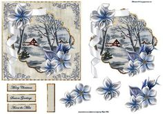 Blue blue Christmas card with a topper on Craftsuprint designed by Angela Wake…