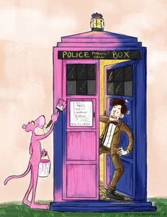 Pink Panther paints the TARDIS. Im not a Dr. Who person, however this cracks me up! I love the Pink Panther