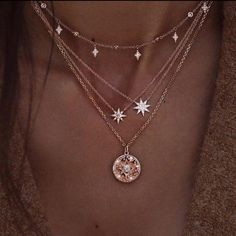 Delicate Layered Necklace with Stars, Multilayer Celestial Gold Necklace with Crystals Zarte geschichtete Halskette mit Sternen, Multilayer Celestial Gold Neckla – ElvenMeadow Cute Jewelry, Jewelry Accessories, Fashion Accessories, Women Jewelry, Diy Jewelry, Jewelry Shop, Star Jewelry, Fashion Jewelry Necklaces, Cheap Jewelry